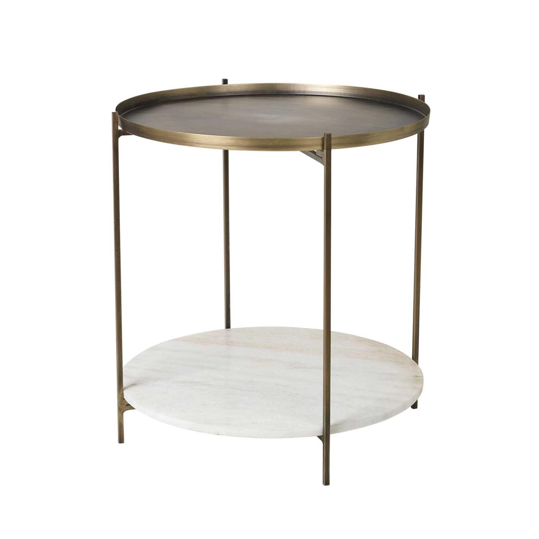 BROSTE COPENHAGEN Tristan sidebord - hvid/guld marmor/jern, m. hylde, rund (Ø50)