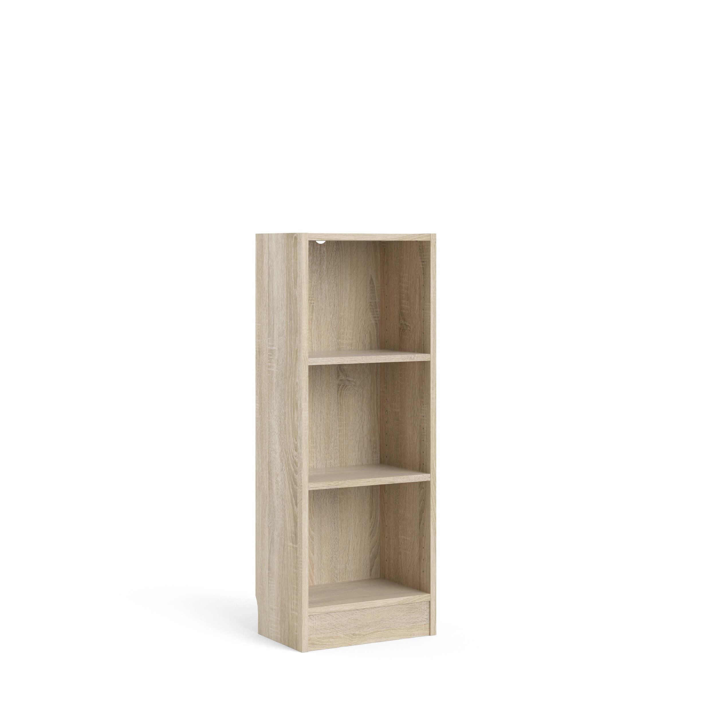 Basic bogkasse - egetræsstruktur, m. 2 hylder