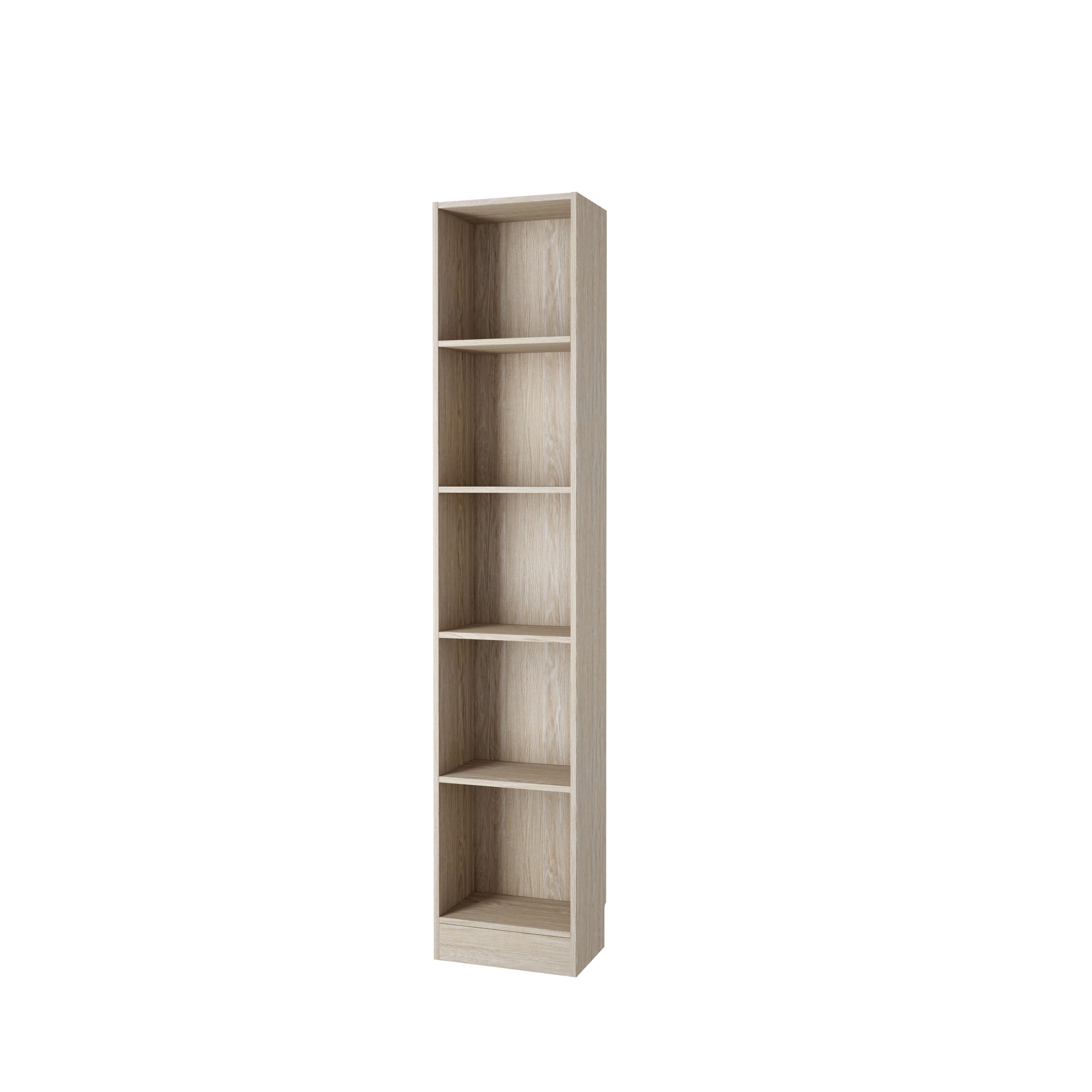 Basic bogkasse - egetræsstruktur, m. 4 hylder