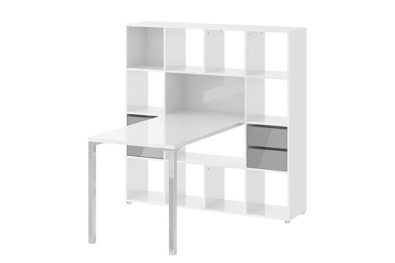 Function skrivebord - hvidt træ, m. reol og skuffer