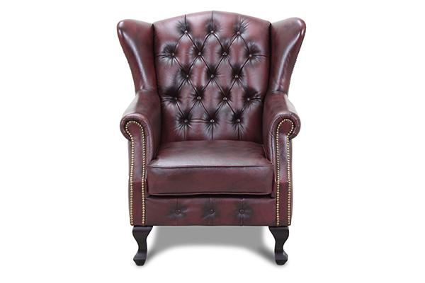 Image of   HAGA Aberdeen lænestol - brunt/rødt chesterfield læder