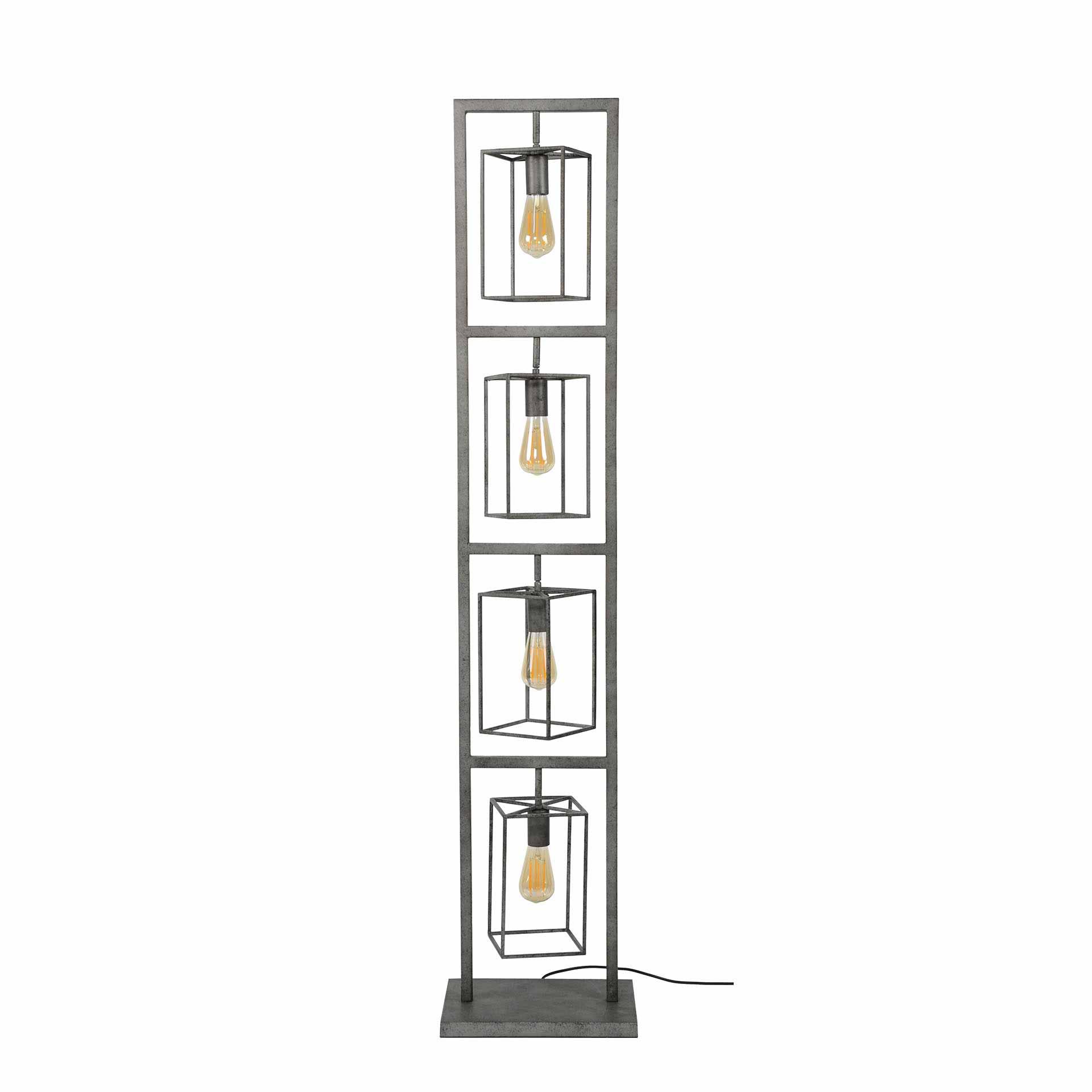 Furbo Furbo Gulvlampe - Patineret Sølv Stål, M. 4 Lamper Belysning