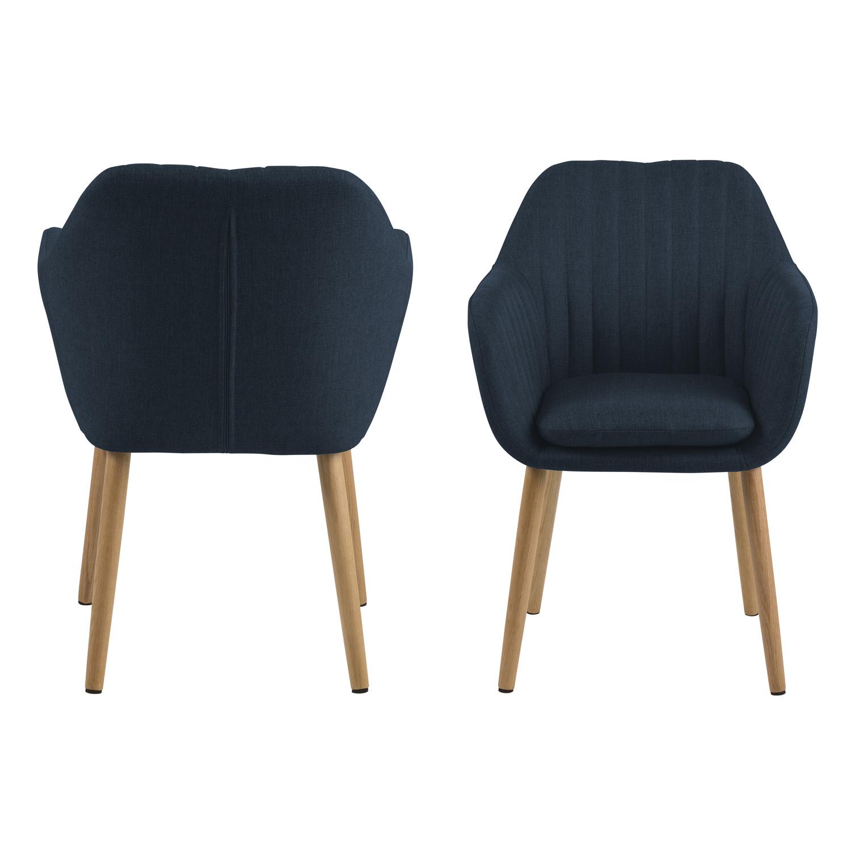 Emilia spisebordsstol m. armlæn - mørkeblå stof og natur egetræ