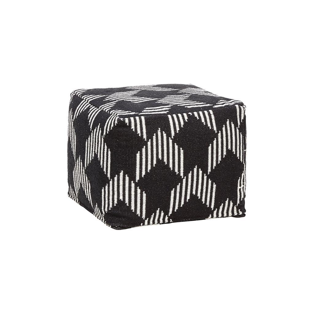 Billede af Hübsch Firkantet bomulds puf m/mønster, sort/hvid