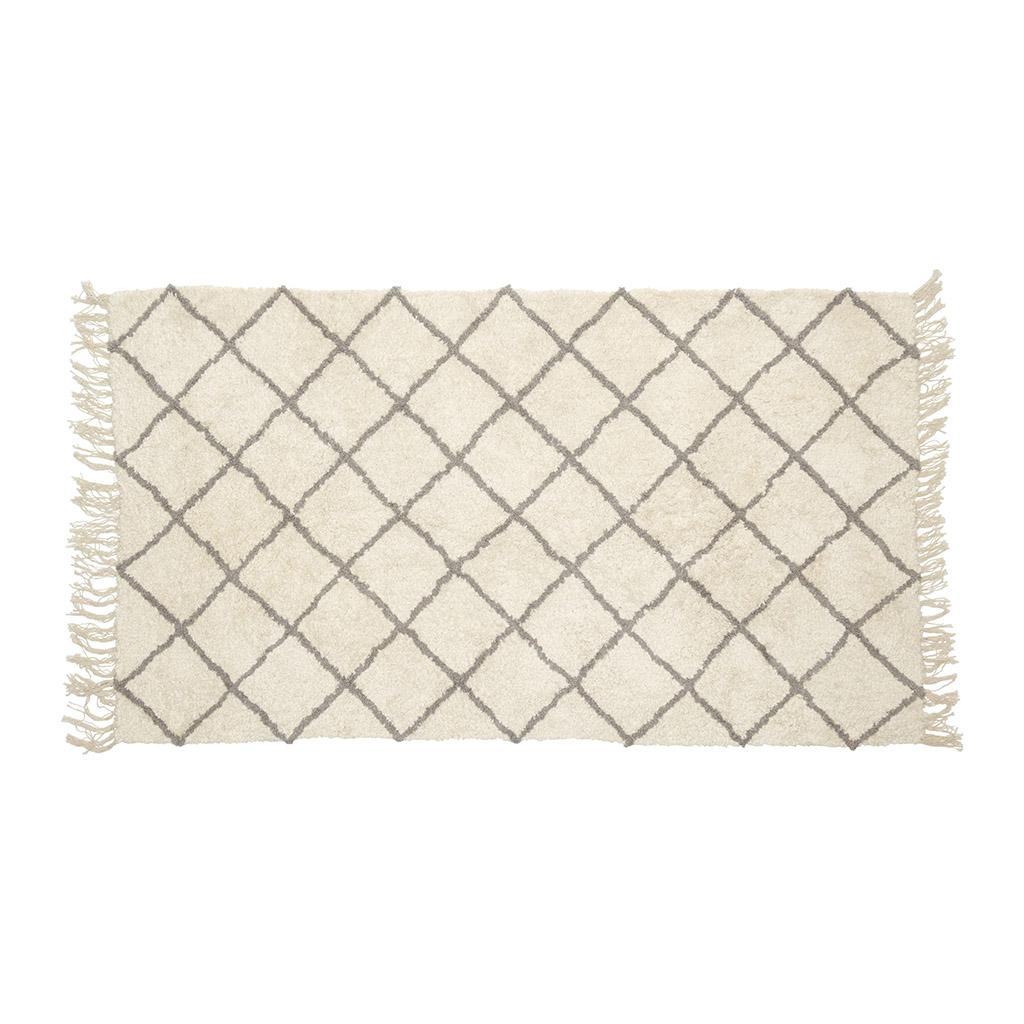 hübsch H?bsch gulvtæppe - hvid/grå bomuld (90x150) fra boboonline.dk