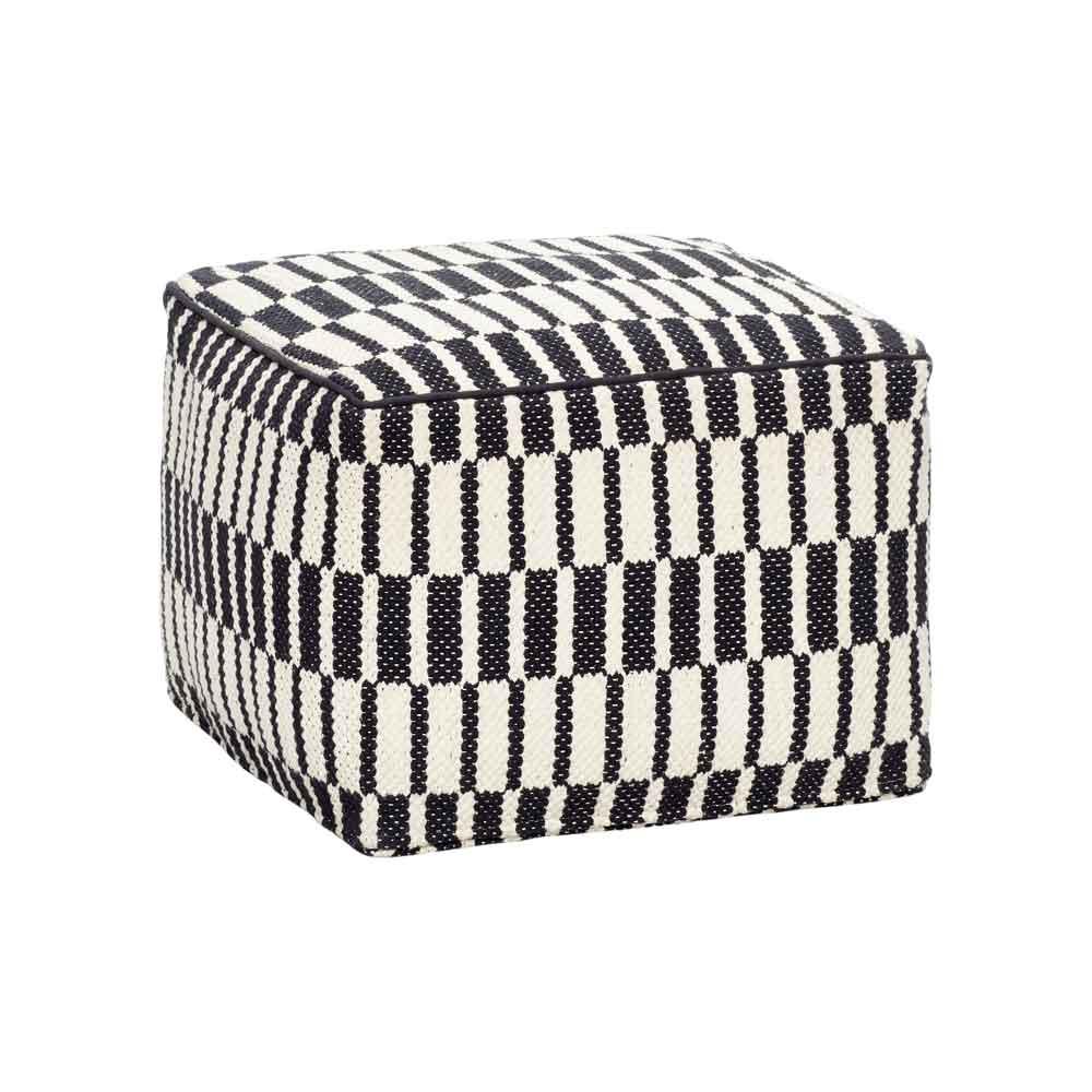 HÜBSCH puf m. mønster - sort/hvid bomuld, kvadratisk