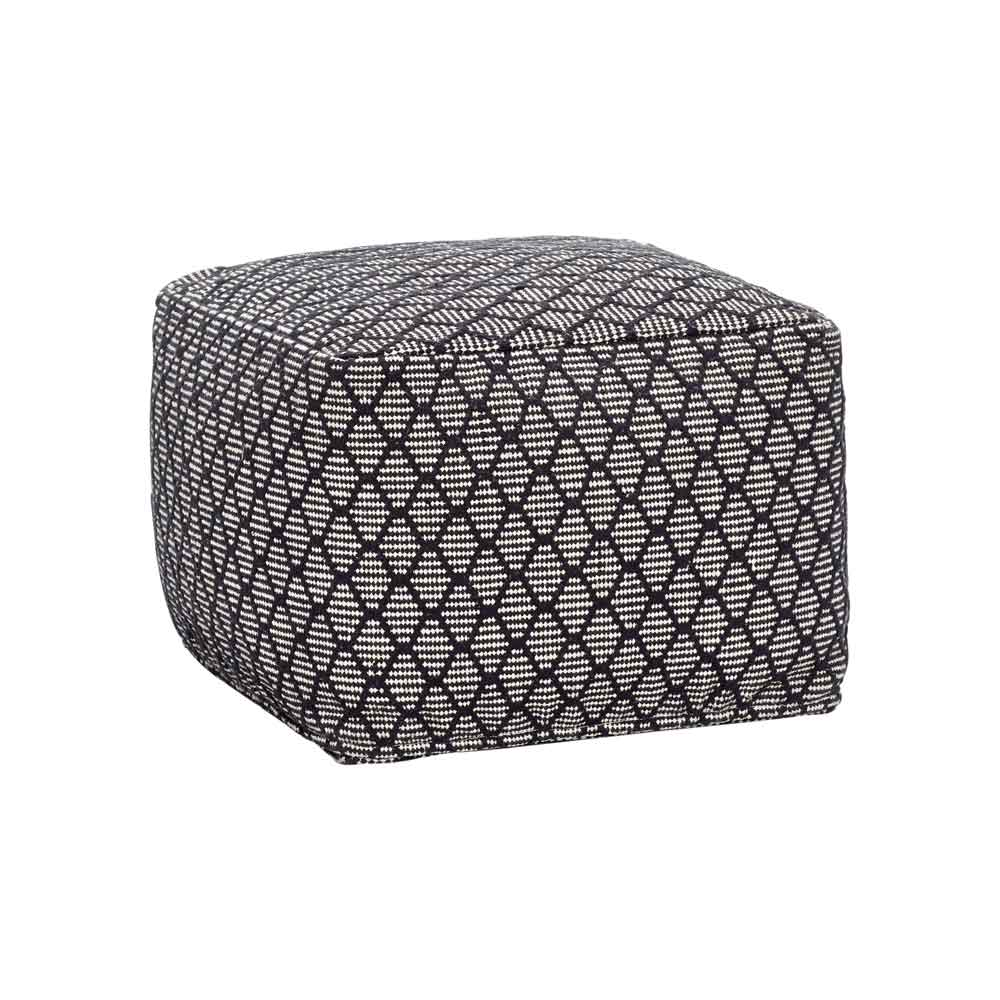 H?bsch puf m. mønster - sort/hvid bomuld, kvadratisk fra hübsch på boboonline.dk