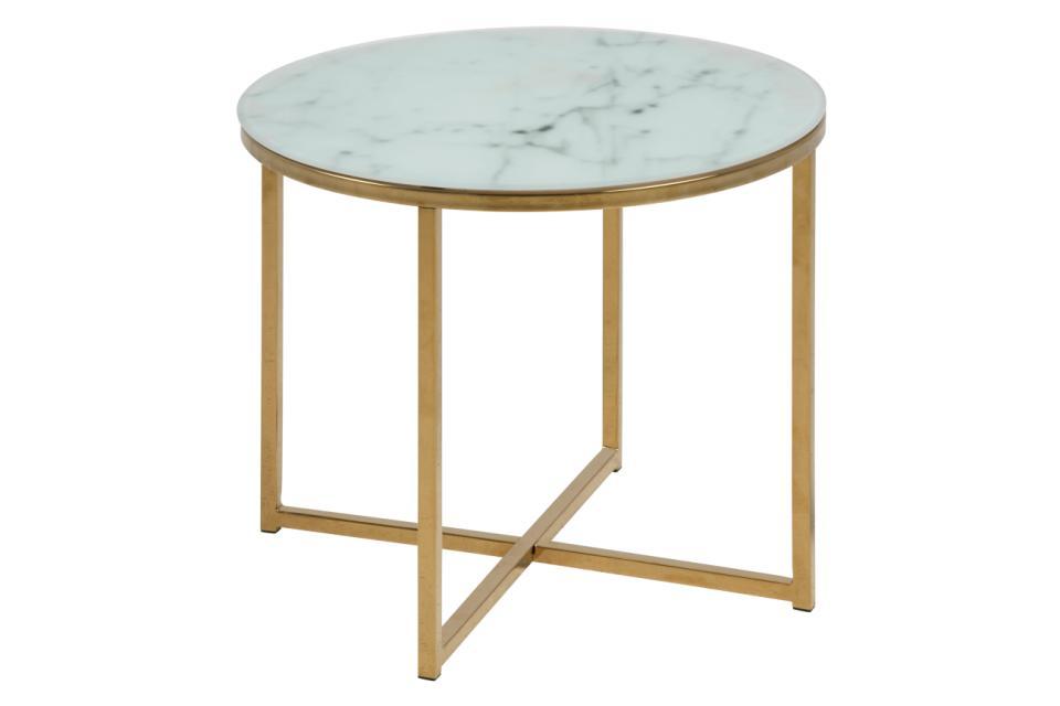 Billede af ACT NORDIC Alisma hjørnebord - hvid/guld marmorpapir/metal, rund (Ø50)