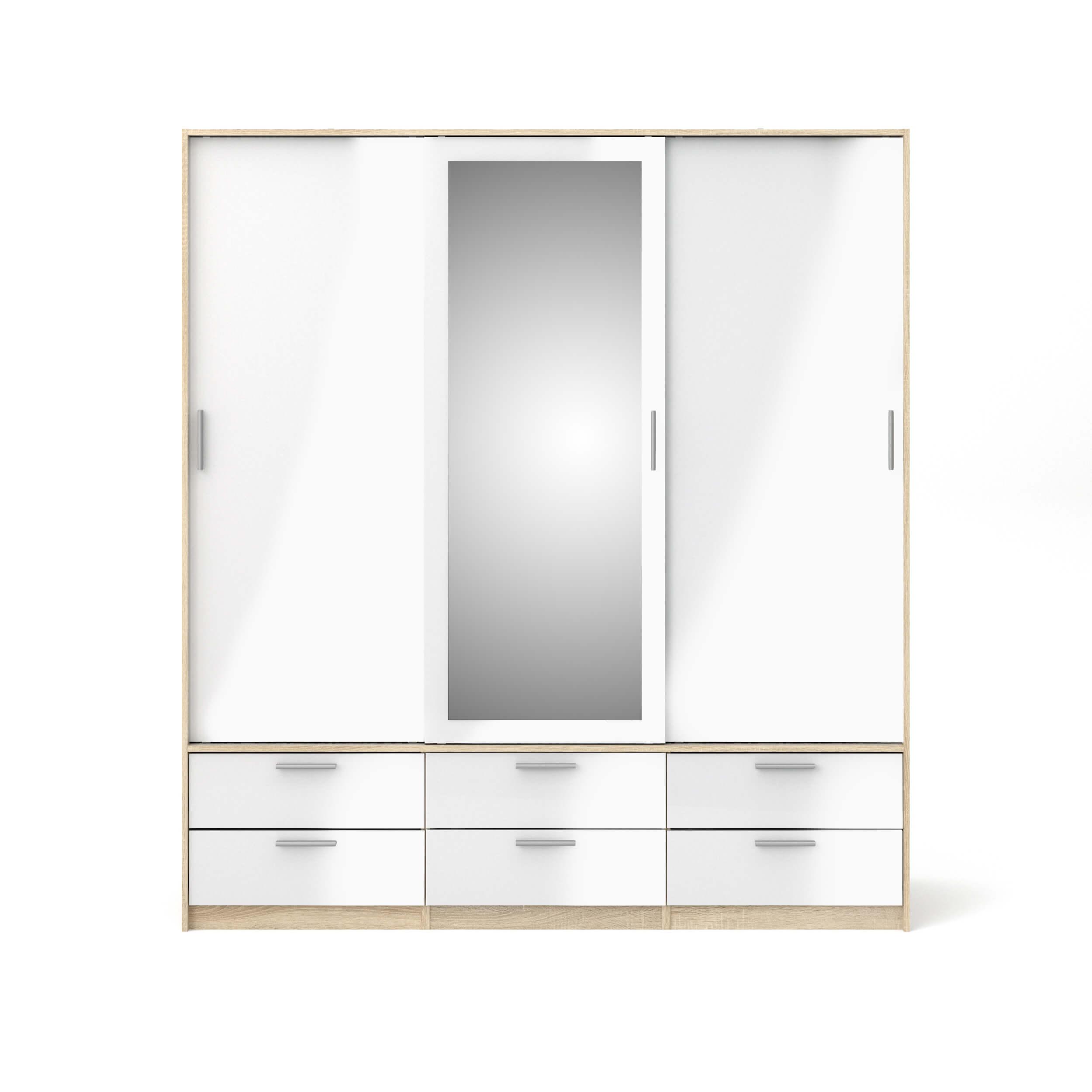 Line garderobeskab - egetræsstruktur/hvid højglans/spejlglas, m. 3 låger og 6 skuffer