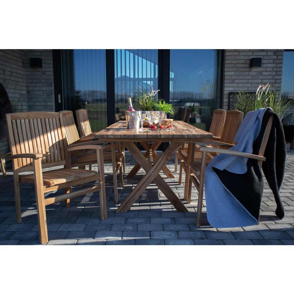 HOUSE NORDIC Murcia spisebord med krydsben natur genbrugs