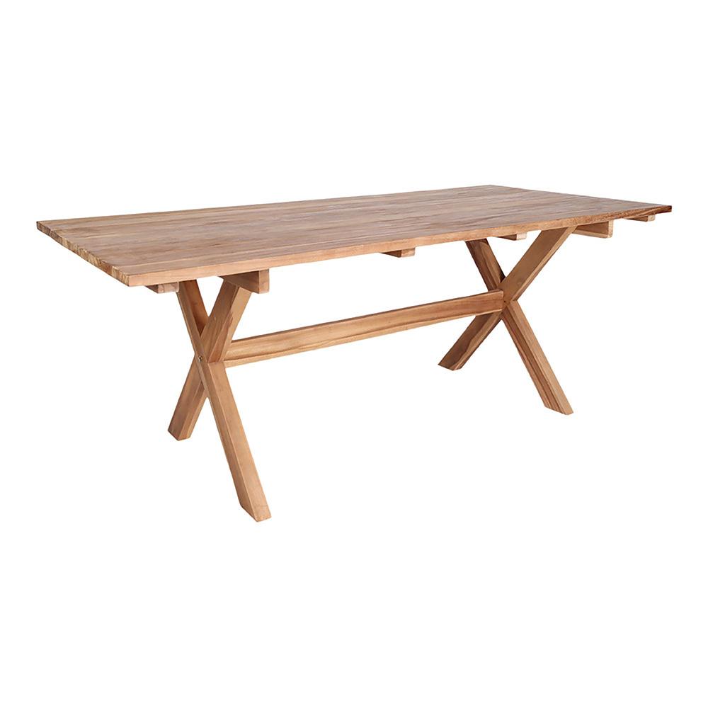 HOUSE NORDIC Murcia spisebord med krydsben - natur genbrugs teaktræ, rektangulær (200x90)