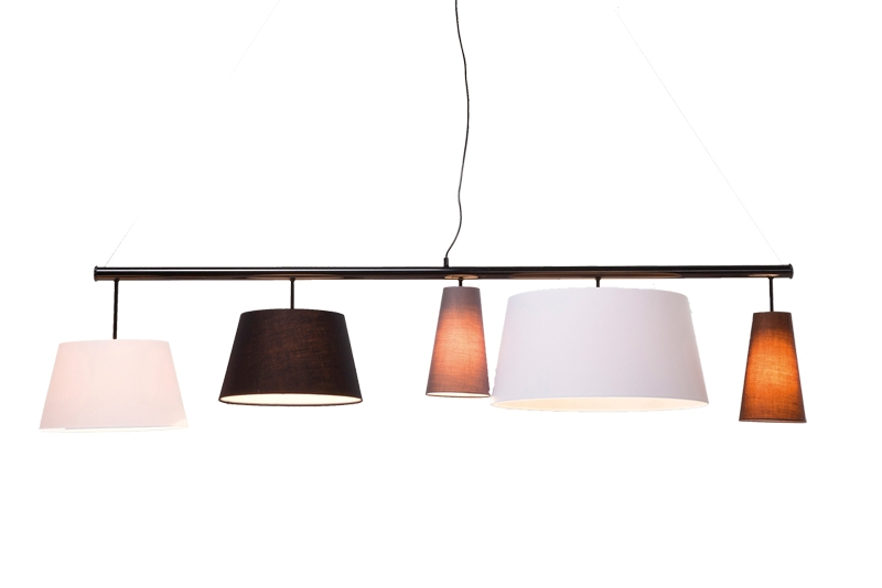 Kare design parecchi loftlampe - sort/hvid stof, 165 cm fra kare design på boboonline.dk