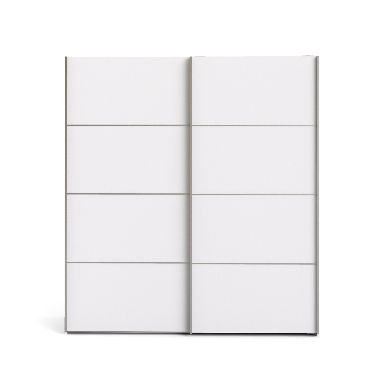 Verona garderobeskab - hvid træ, 2 skydedøre