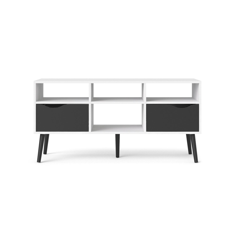 Delta TV-bord - hvid/sort træ m. 2 skuffer og 4 rum
