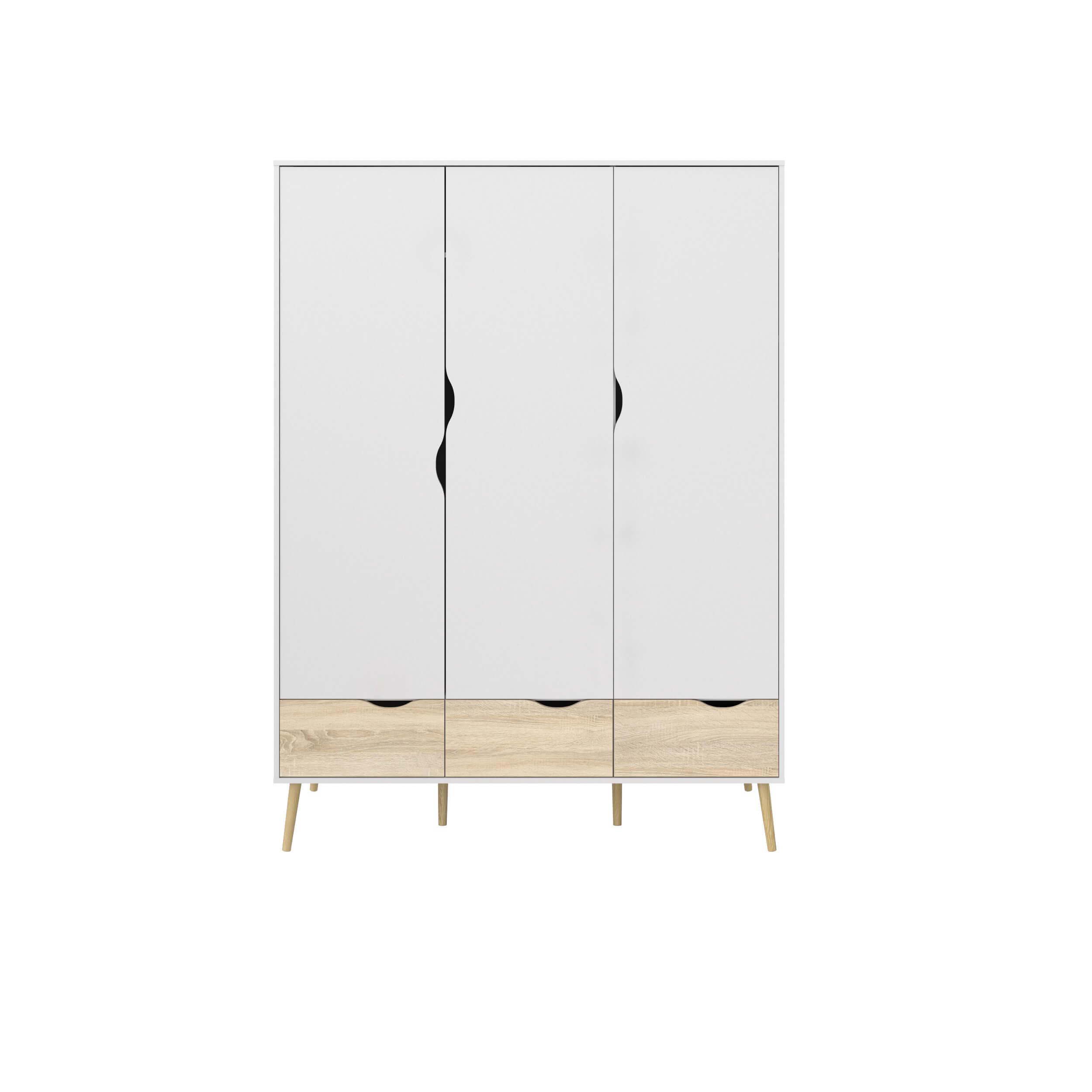 Oslo garderobeskab - hvid/egetræsstruktur, m. 3 låger og 3 skuffer
