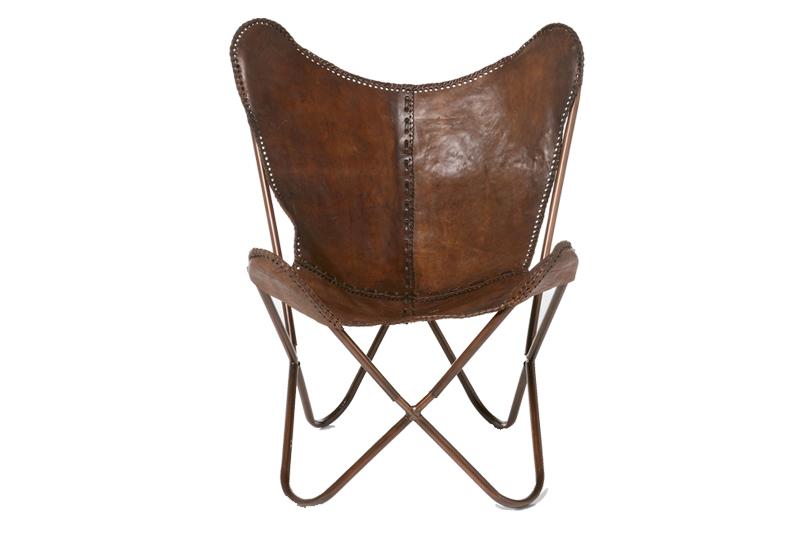 Butterfly hvilestol brun koskind i klassisk butterfly design for Kare design schweiz