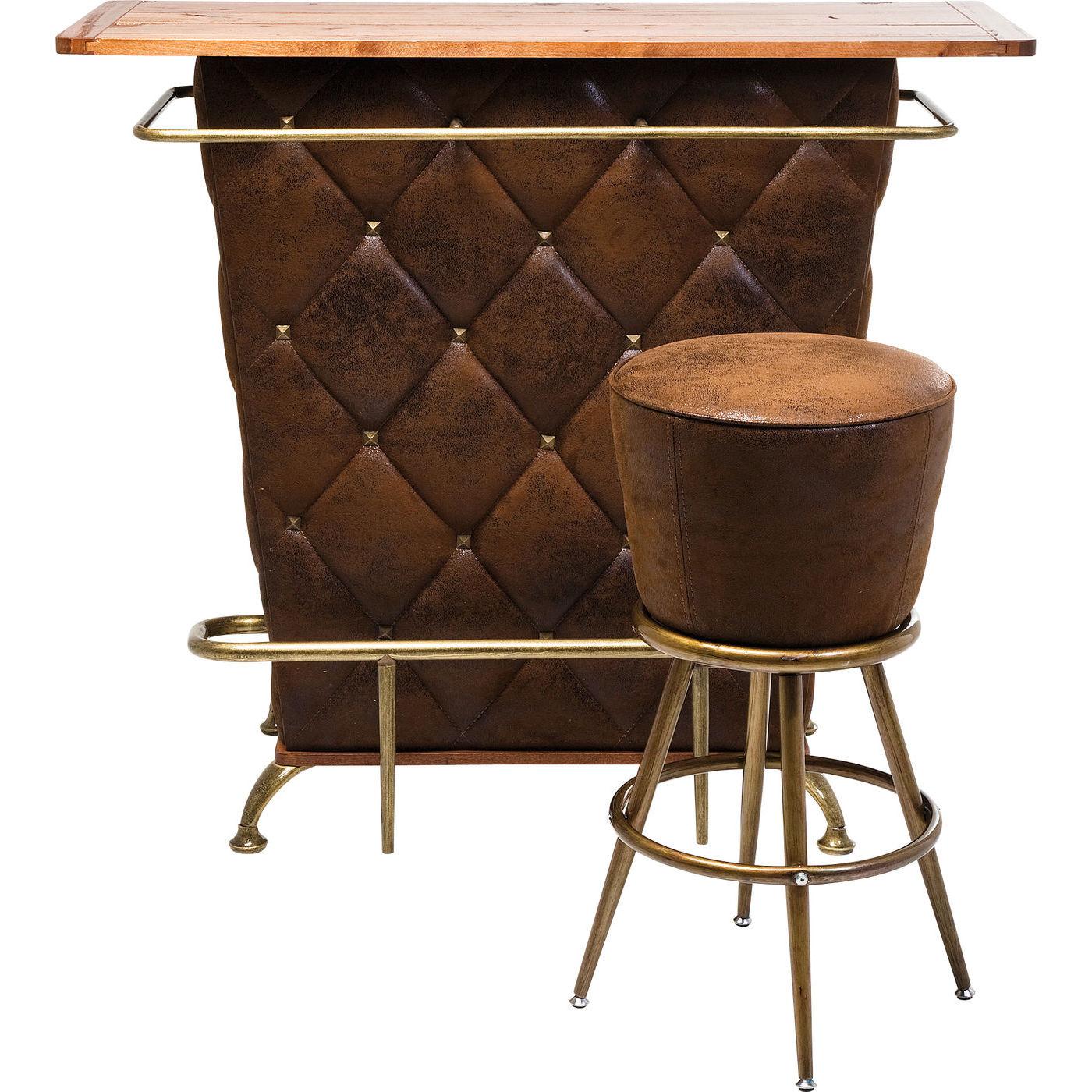 Picture of: Hjemmebar I Vintage Stil Lille Kompakt Bar I Trae Og Laederlook