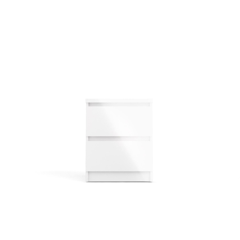 Naia natbord - hvid højglans træ, m. 2 skuffer