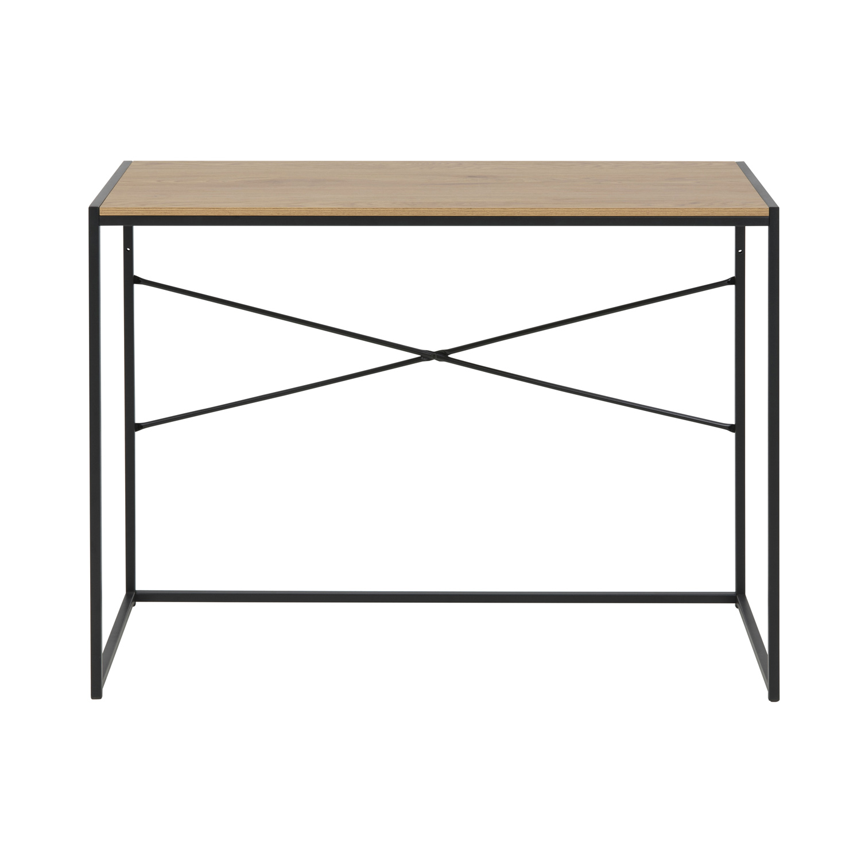 Seaford skrivebord - natur/sort vildeg/metal, rektangulær (100x45)