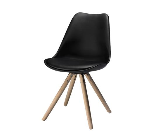 Missy spisebordsstol - sort læder PU m. egetræsben