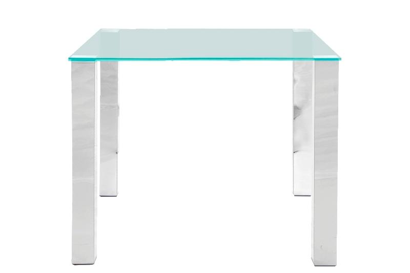 Kante spisebord - glasplade og metalstel, 90 x 90
