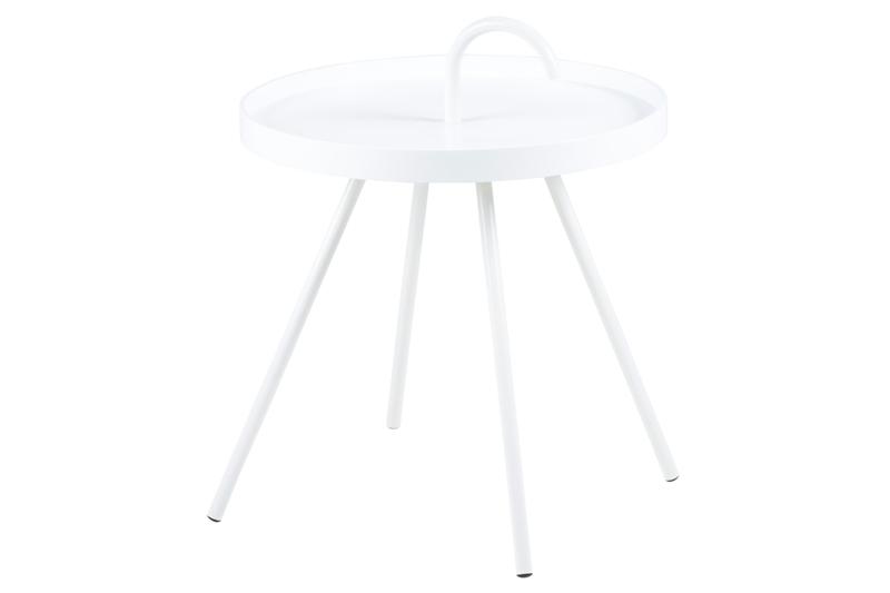 Mico bakkebord - hvidt træ og metal, rundt (Ø:51)