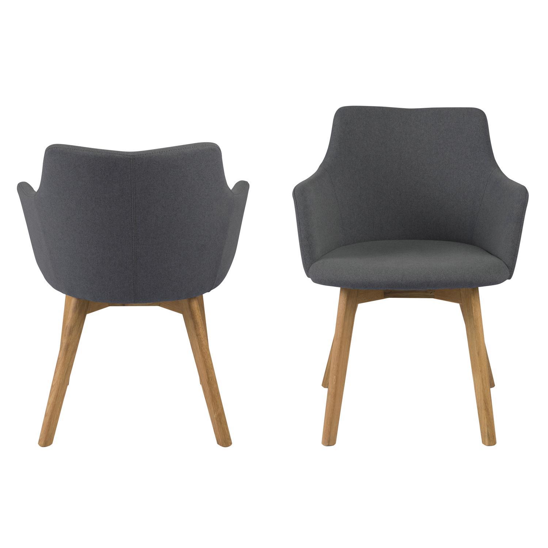 Bella spisebordsstol m. armlæn - antracitgrå stof og natur egetræ