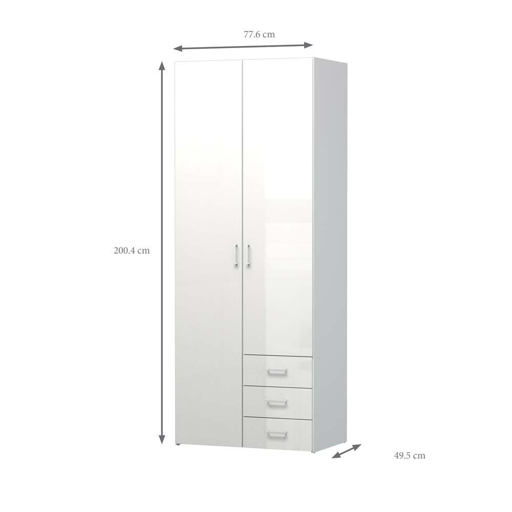 Space garderobeskab - hvid højglans m. 2 låger & 3 skuffer
