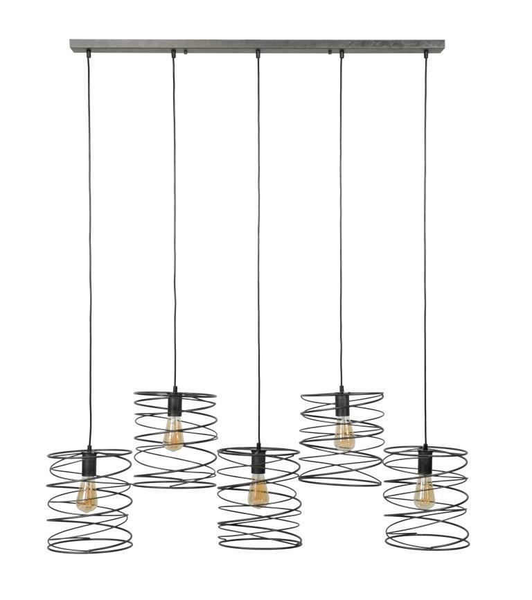 furbo furbo loftslampe - sort metal, m. 5 lamper