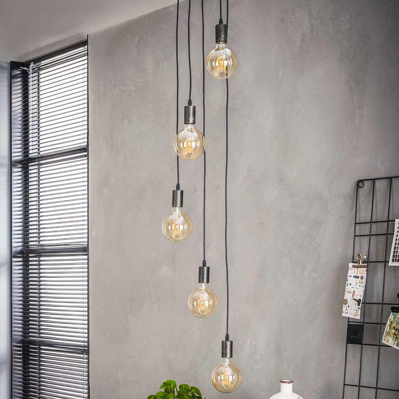 FURBO loftlampe - sort stål, m. 5 pærer