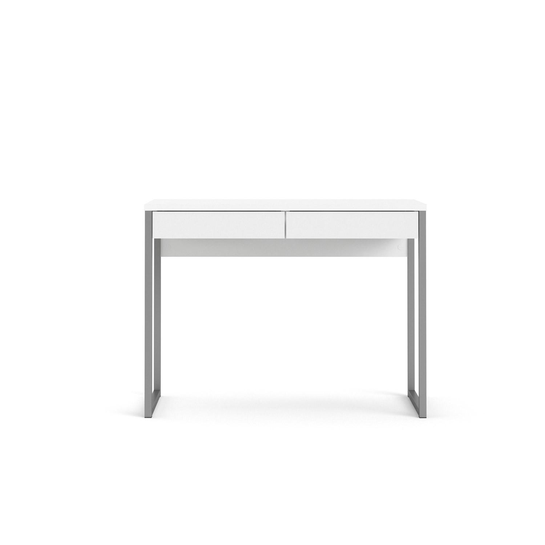 Function Plus skrivebord - hvid højglans, m. 2 skuffer