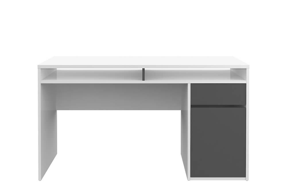 Function Plus skrivebord - hvid/eg højglans