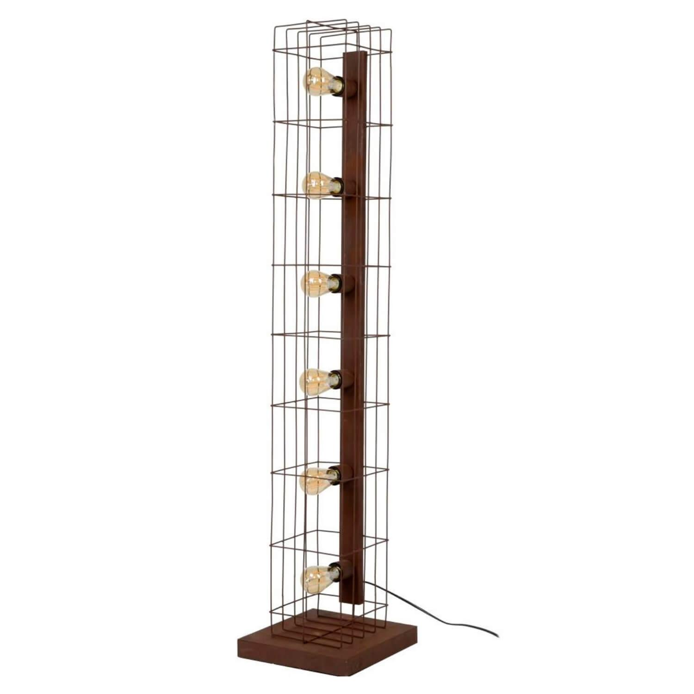 FURBO gulvlampe - rustfarvet stålrør, rektangulær fod, m. 6 lamper
