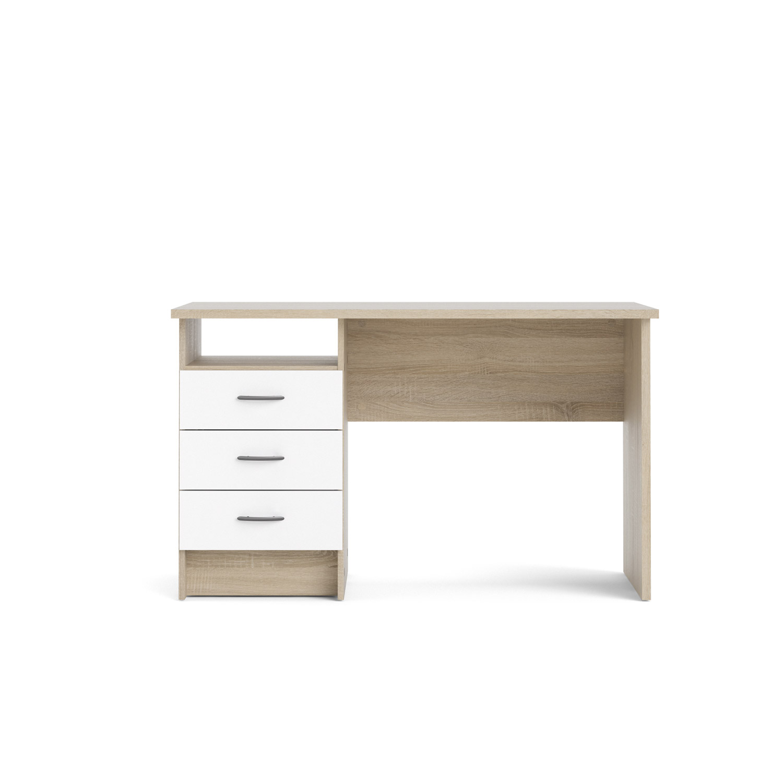 Function skrivebord - 3 skuffer, eg/hvid