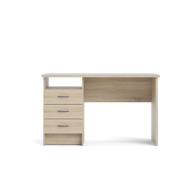 Function Plus skrivebord - egetræsstruktur, m. 3 skuffer