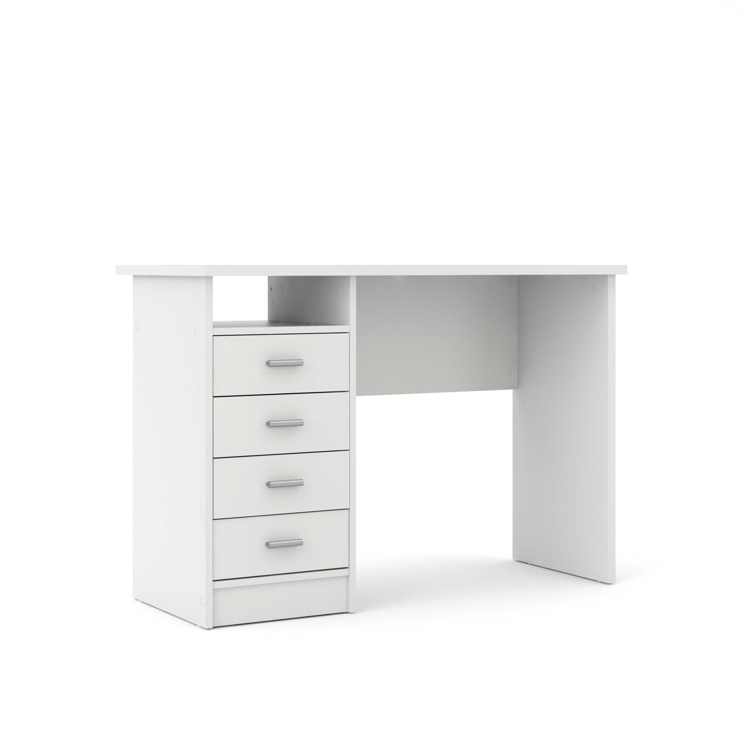 Billede af Function Plus skrivebord - hvid, m. 4 skuffer