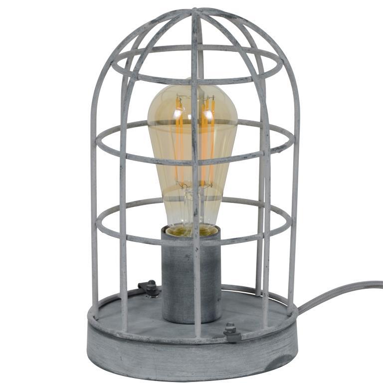 FURBO bordlampe - grå betonfarvet stål, rund (Ø:15), bur