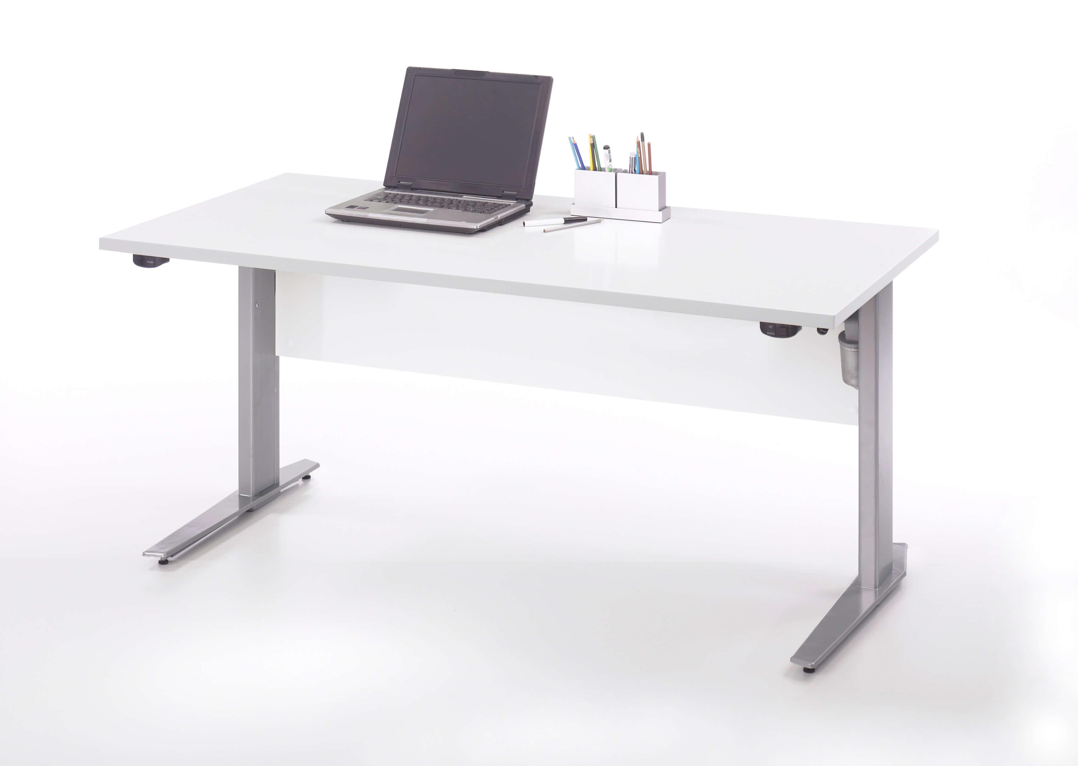Prima skrivebord - hvid/sølvgråt stål, m. hæve/sænke funktion (150x80)