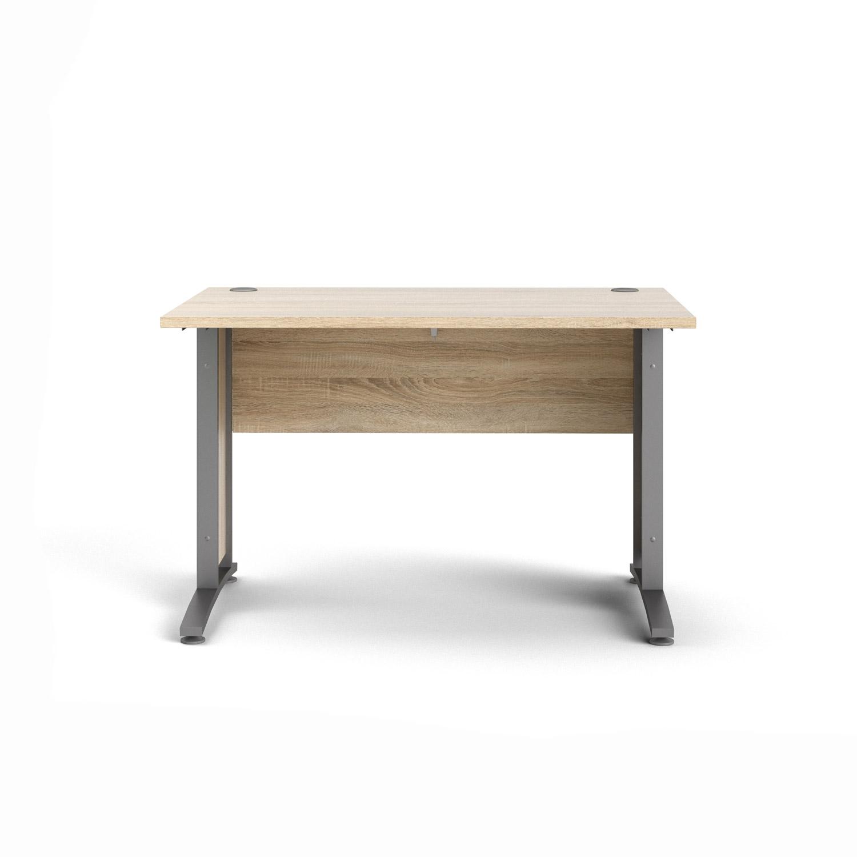 Prima skrivebord - egetræsstruktur og sølvgrå stål (150x80)