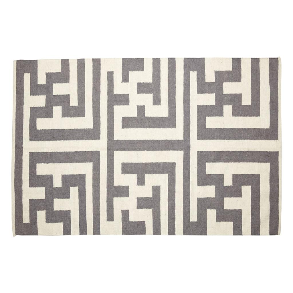Billede af Hübsch Vævet tæppe i uld, natur/grå
