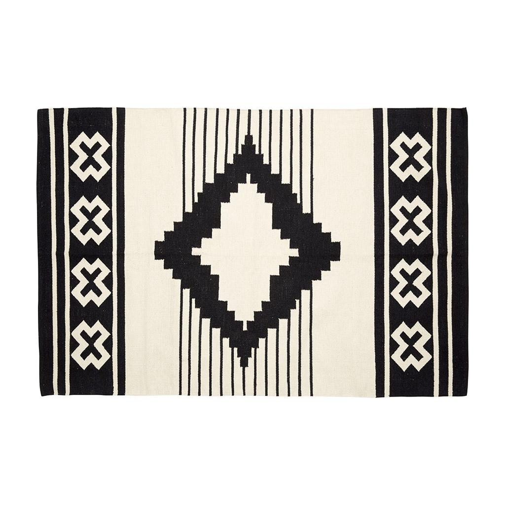 Billede af Hübsch Vævet tæppe i bomuld, natur/sort