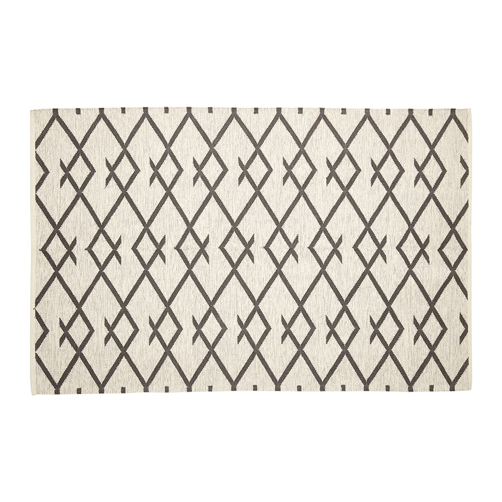 Billede af Hübsch Vævet tæppe i bomuld, natur/grå