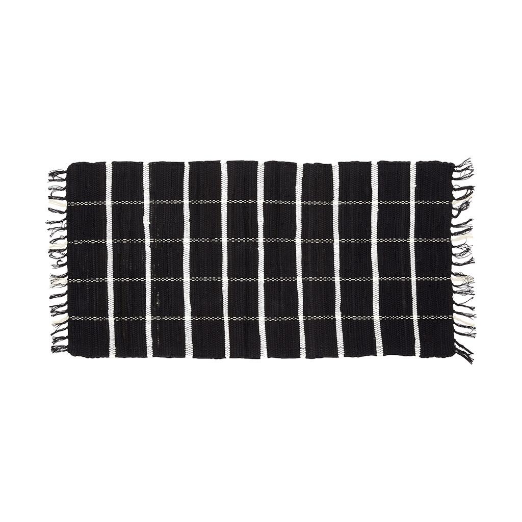 H?bsch vævet tæppe i bomuld, sort/hvid fra hübsch fra boboonline.dk