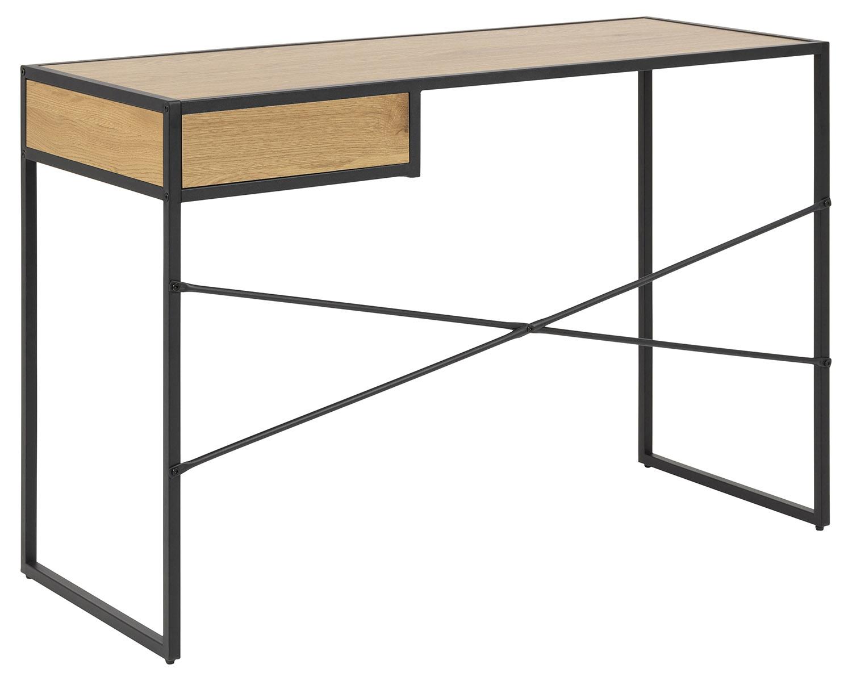 Seaford Skrivebord Natur Sort Papir Vildeg Metal M 1 Skuffe 110x45 Skriveborde Bobo Mobler Boligtilbehor Og Indretning Til Hjemmet
