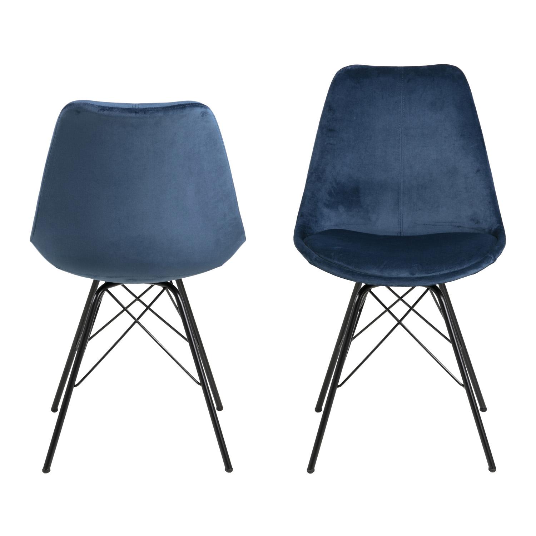 Køb ACT NORDIC Eris spisebordsstol – marineblå stof og sort metal
