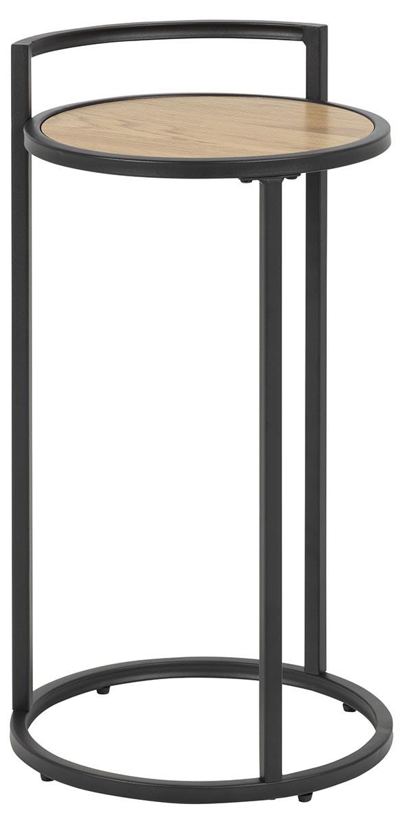Seaford hjørnebord - natur/sort papir vildeg/metal, rund (Ø33) thumbnail