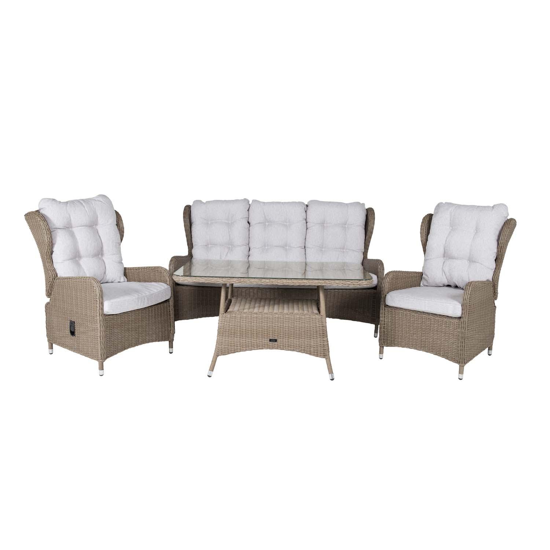 Venture Design Venture Design Washington Sofa Havesæt Med Recliner Stol Natur Hynder - Natur Rattan Havemøbler