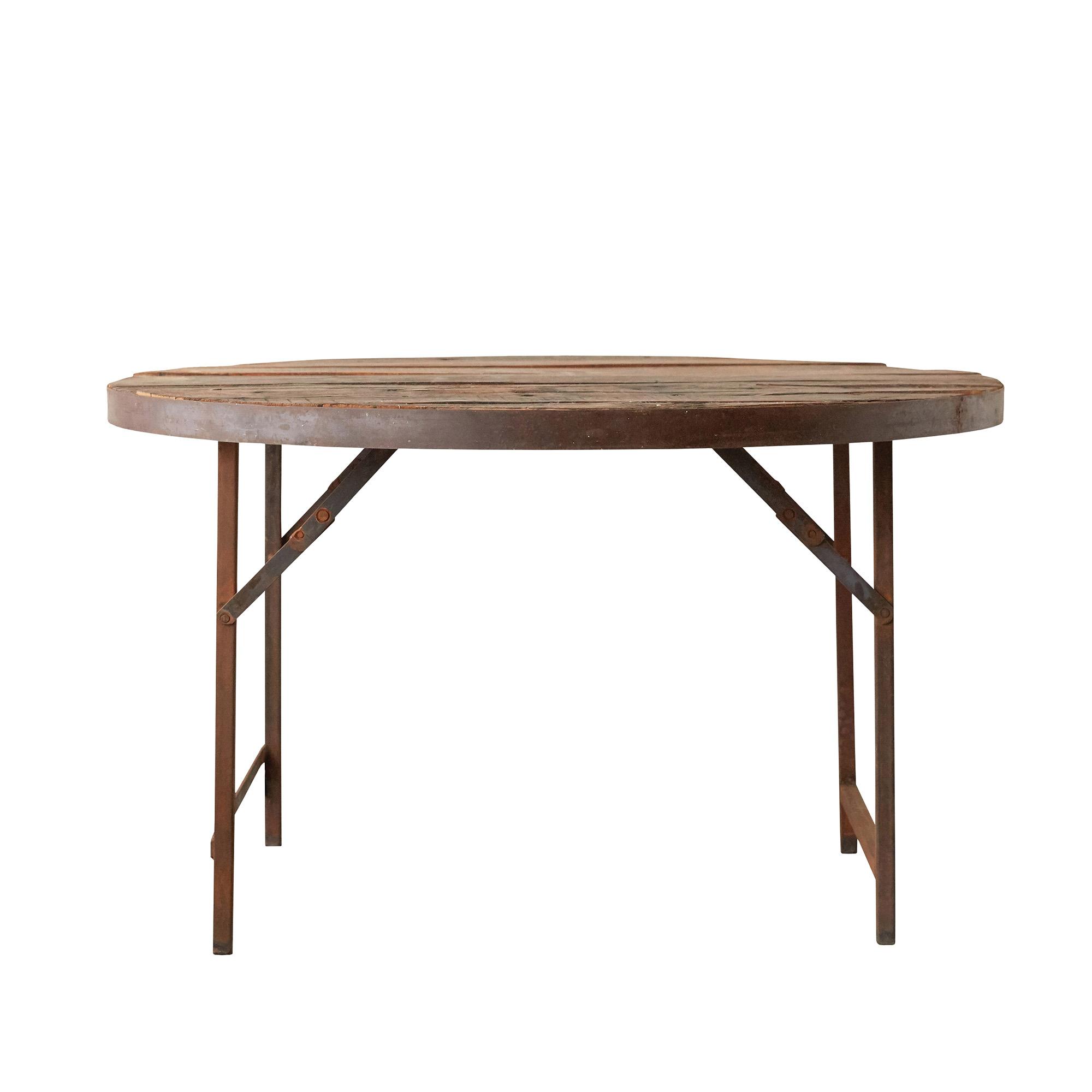 CREATIVE COLLECTION Terrain spisebord - brun træ/jern, rund (Ø120)