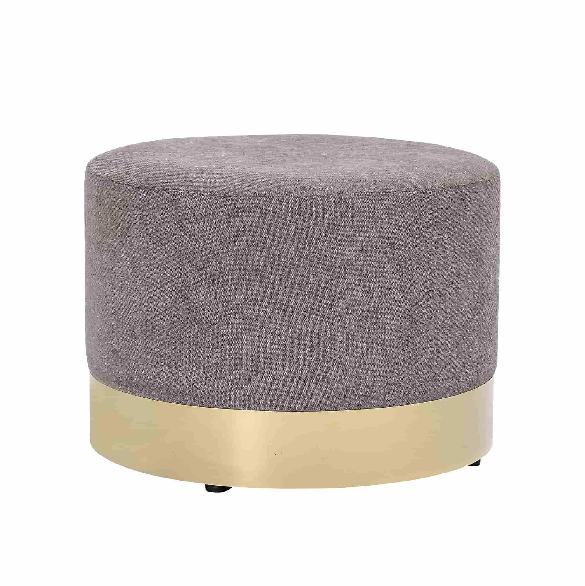 BLOOMINGVILLE Dia puf - grå/guld polyester/metal, rund (Ø55)