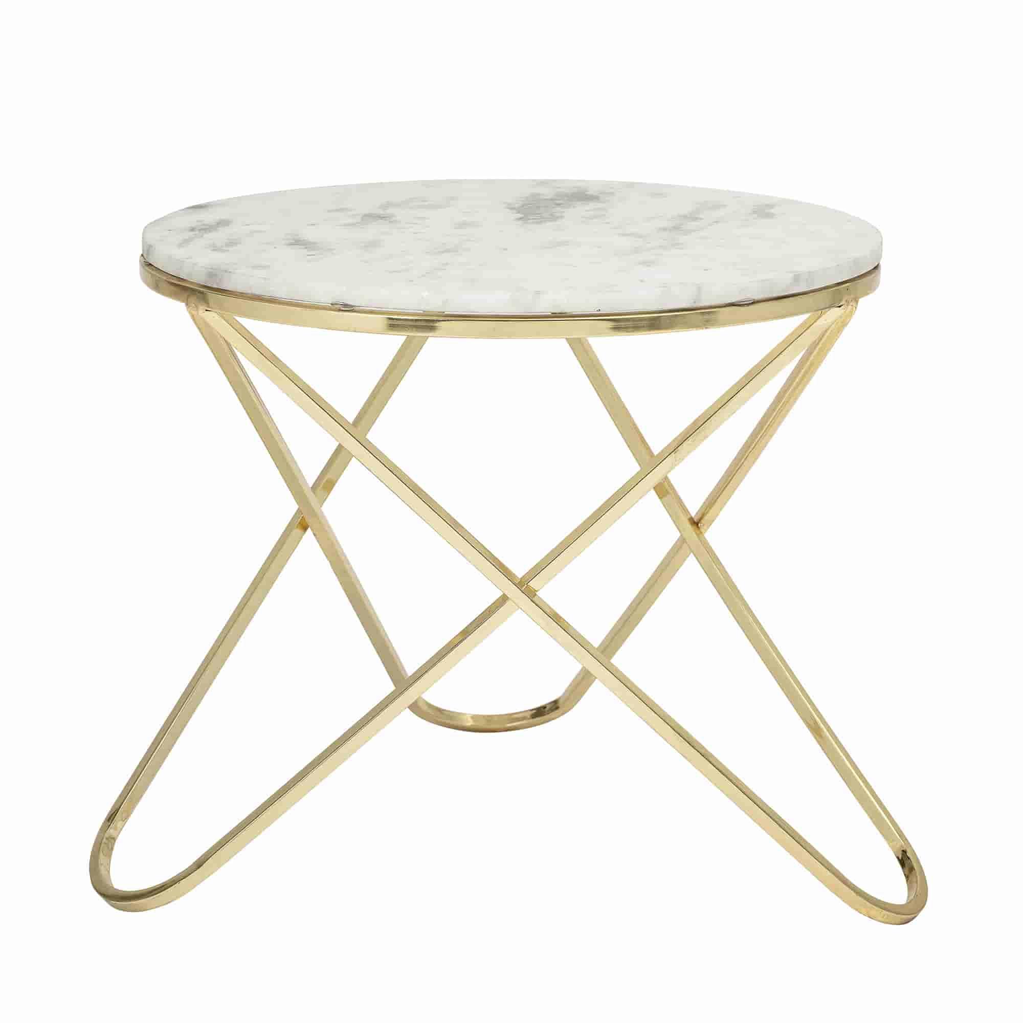 BLOOMINGVILLE Nuevo sofabord - hvid/messing marmor/stål, rund (Ø57)